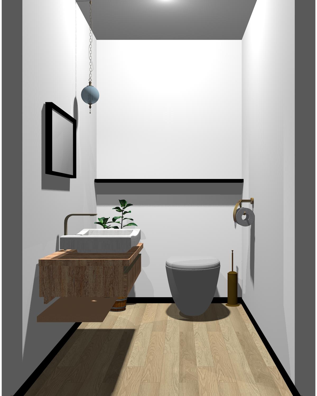 ホワイト×ブラック×木目のトイレ