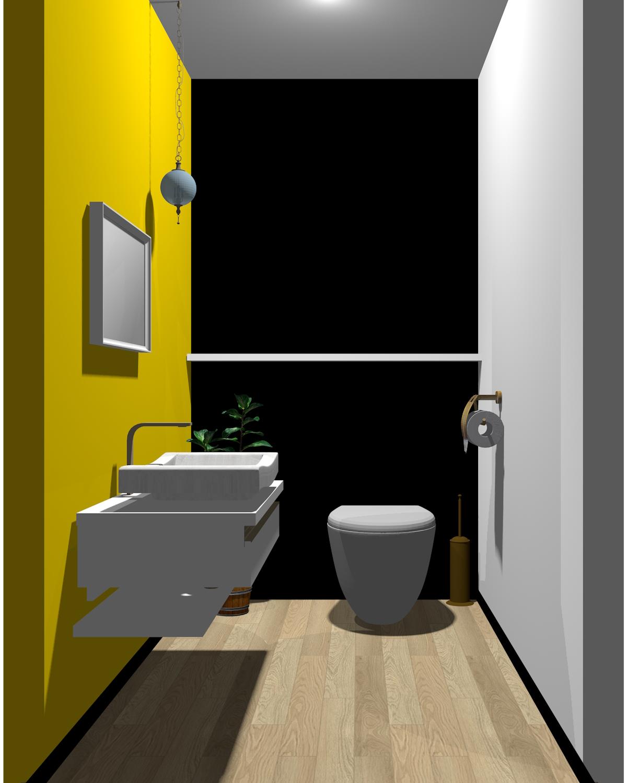 ホワイト×ブラック×イエロー配色のトイレ