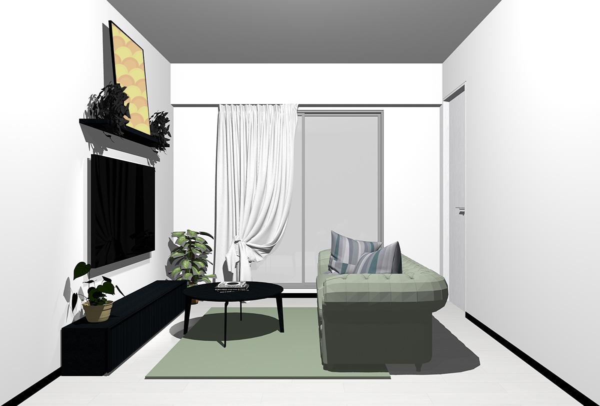 ホワイトの床×ブラックの家具の北欧インテリア