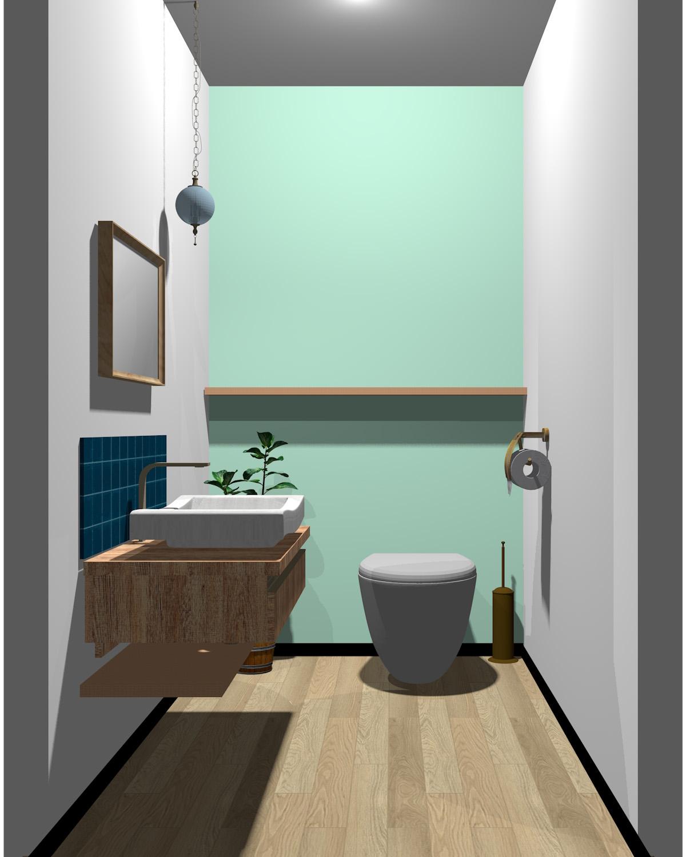 ホワイト×グリーン×ブルー×木目のトイレ