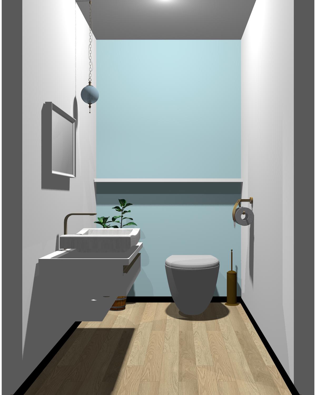 ホワイト×ブルー配色のトイレ