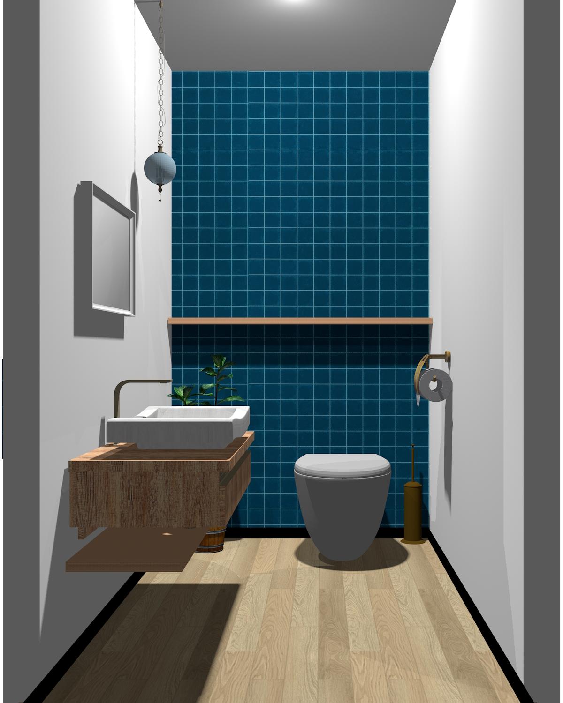 ホワイト×ブルー×木目のトイレ
