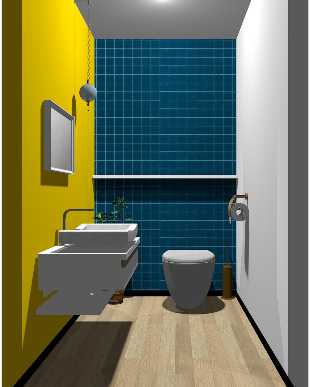 ホワイト×イエロー×ブルー配色のトイレ