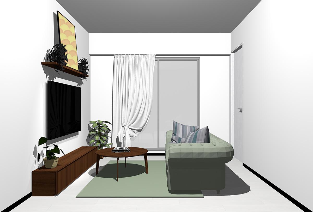 ホワイトの床×暗い茶色の家具の北欧インテリア