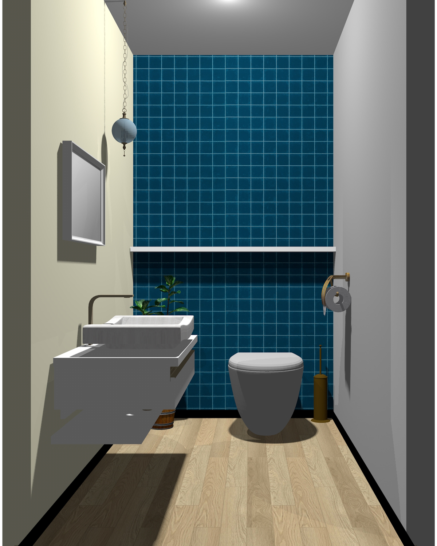 グレー×ベージュ×ホワイト×ブルーのトイレ