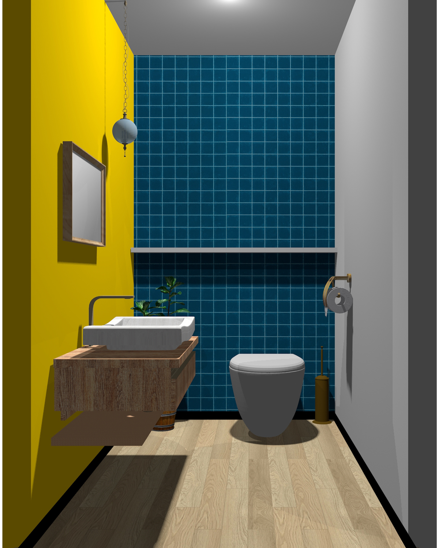 ホワイト×グレー×イエロー×ブルー×木目のトイレ