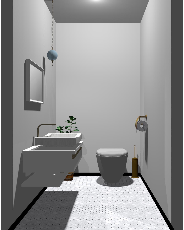 ホワイト×グレー配色のトイレ
