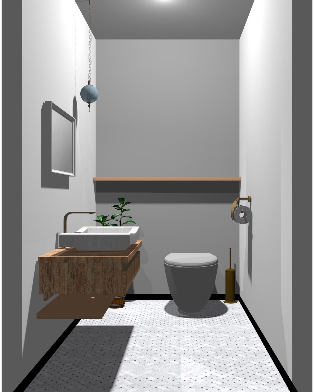 ホワイト×グレー×木目のトイレ
