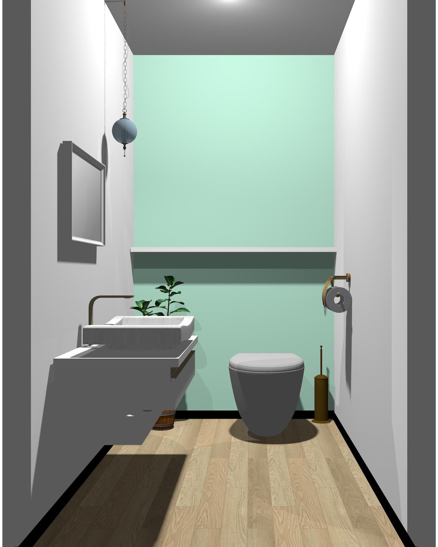 ホワイト×グリーン配色のトイレ