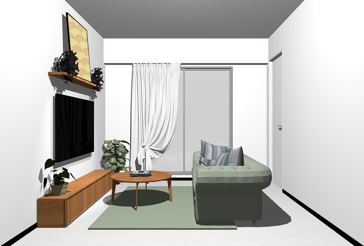 ホワイトの床×茶色の家具の北欧インテリア