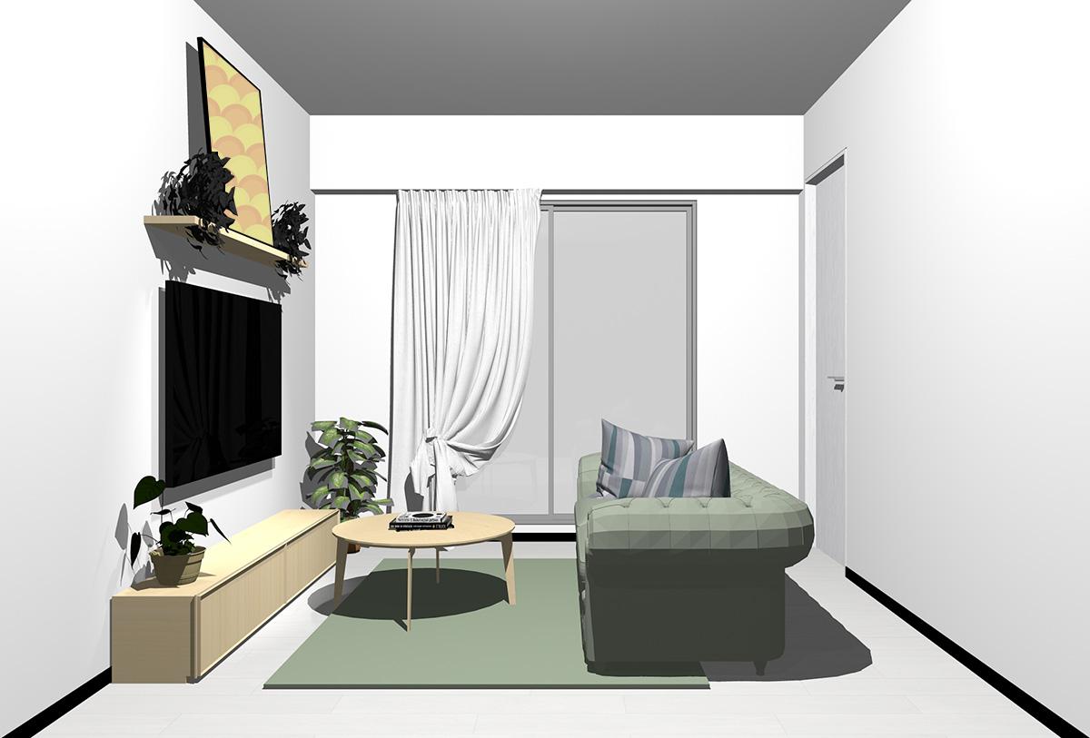 ホワイトの床×薄い茶色の家具の北欧インテリア