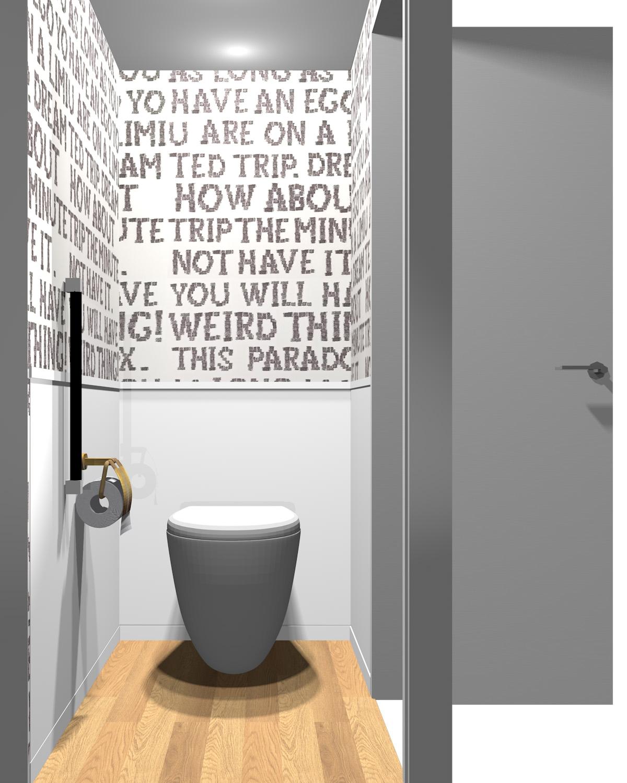 壁がホワイト×ホワイト系パターン柄のツートンのトイレ