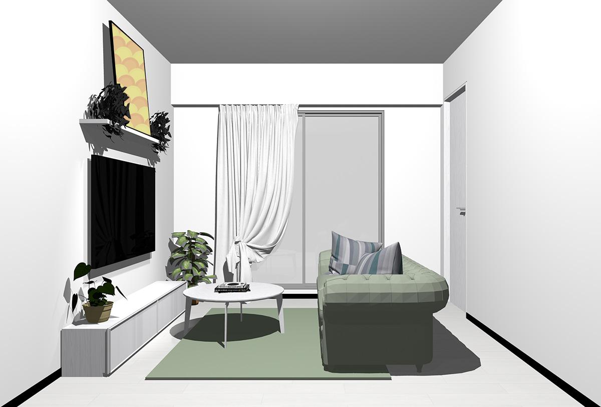 ホワイトの床×ホワイトの家具の北欧インテリア
