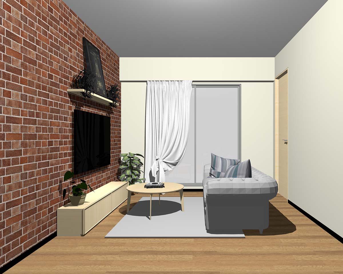 レンガ調壁紙×ベージュ系壁紙のリビング