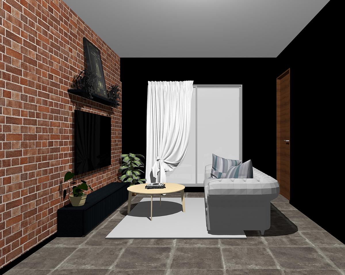 レンガ調壁紙×ブラック系壁紙のリビング
