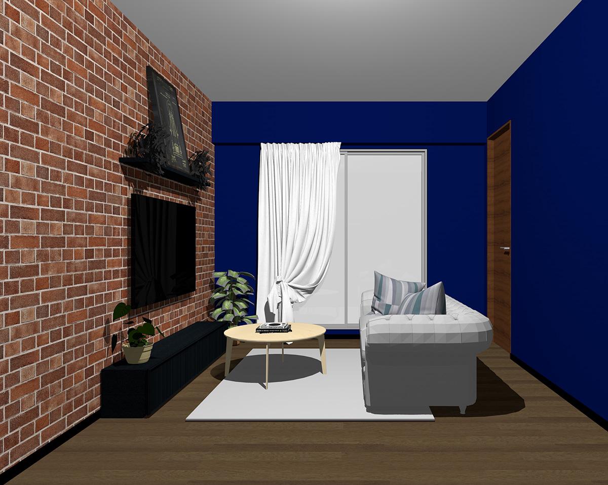 レンガ調壁紙×ブルー系壁紙のリビング