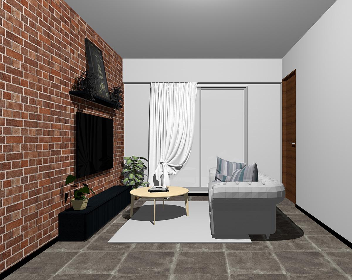 レンガ調壁紙×グレー系壁紙のリビング
