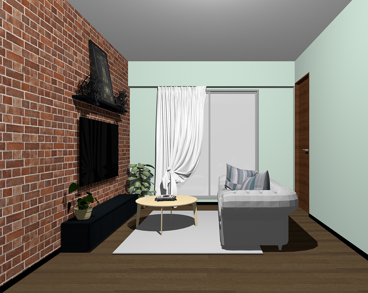 レンガ調壁紙×グリーン系壁紙のリビング