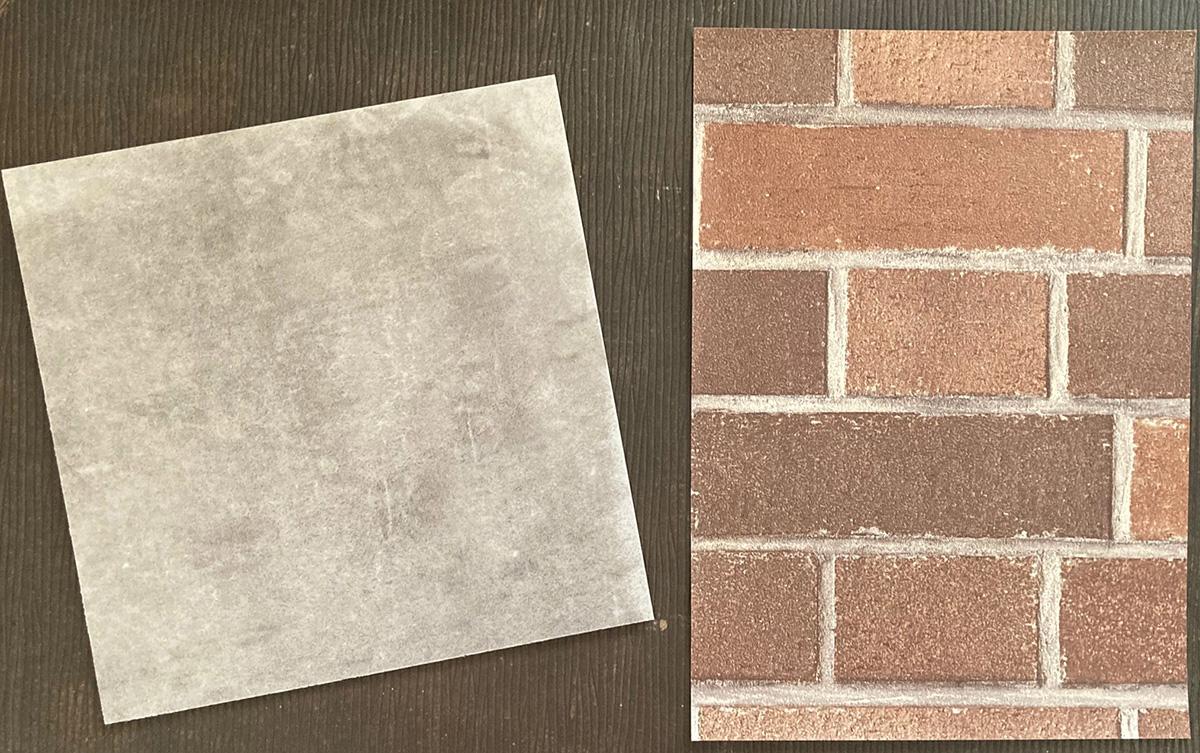 コンクリート調床とレンガ調壁
