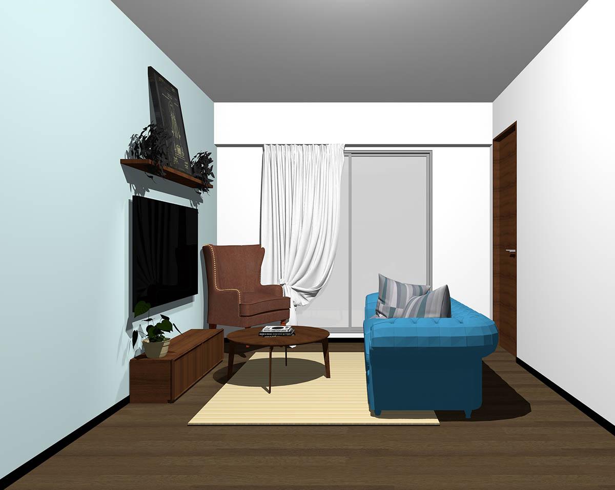 ダークブラウンのフローリング、ダークブラウンの木製家具とブラウン×ブルーの組み合わせ