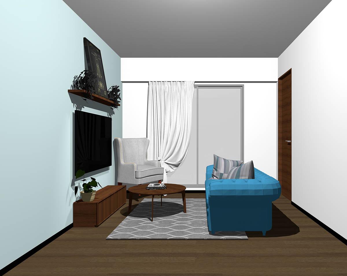 ダークブラウンのフローリング、ダークブラウンの木製家具とブルー×グレーの組み合わせ