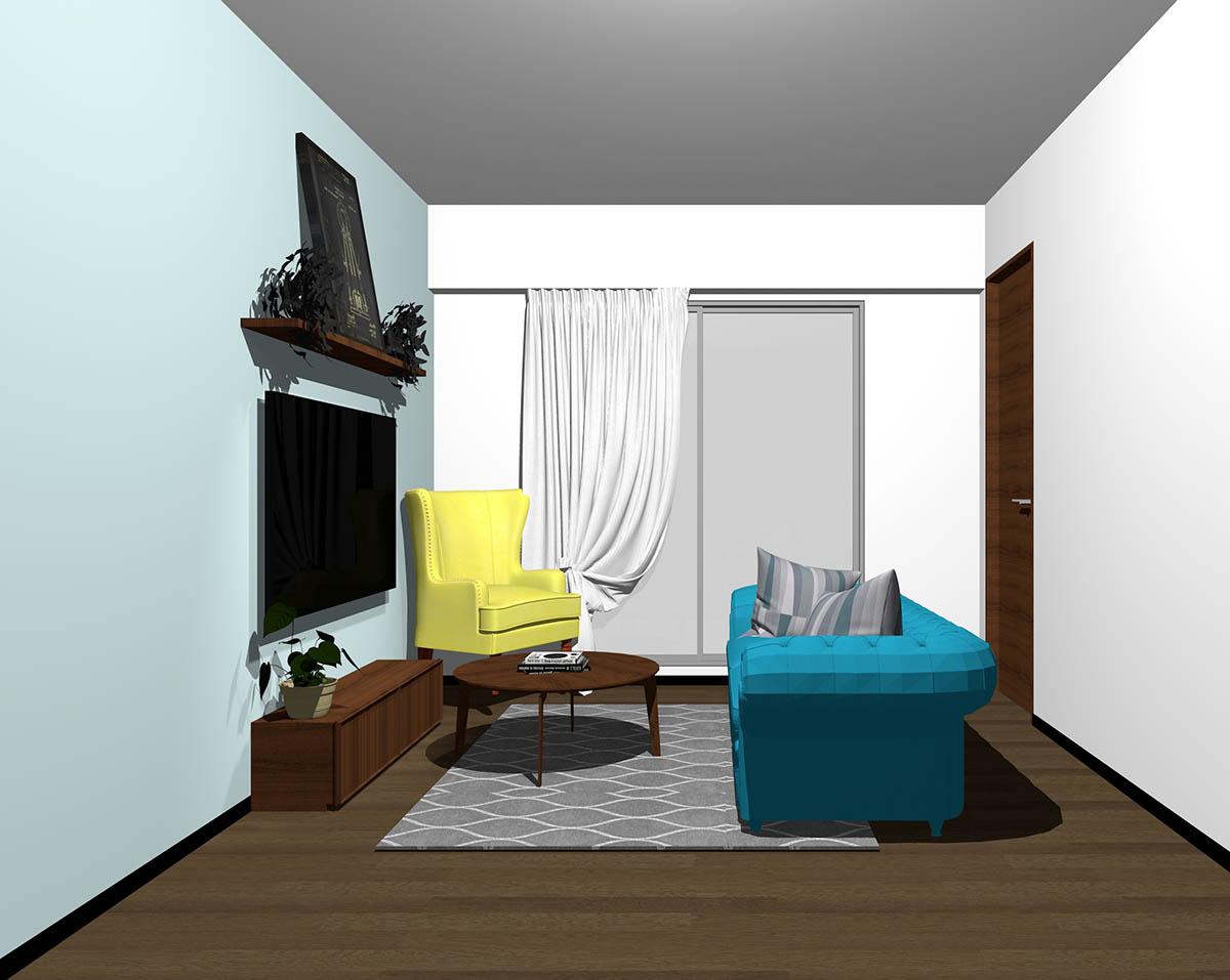 ダークブラウンのフローリング、ダークブラウンの木製家具とブルー×イエローの組み合わせ