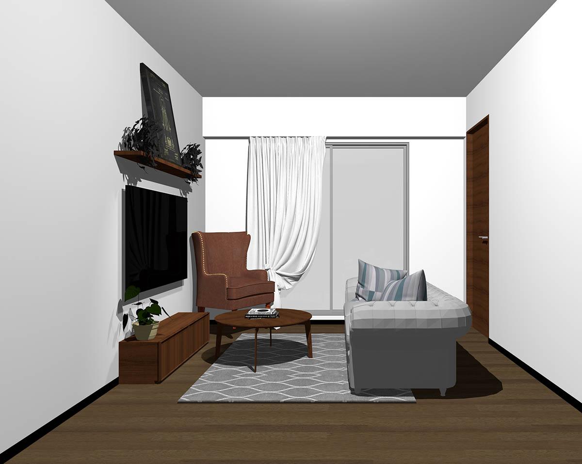 ダークブラウンのフローリング、ダークブラウンの木製家具とブラウン×グレーの組み合わせ