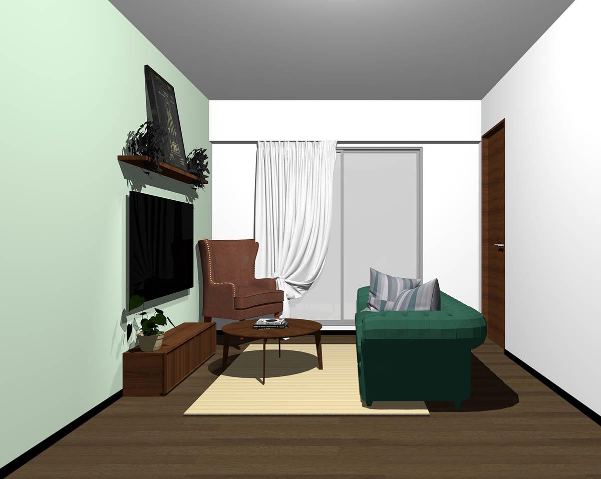 ダークブラウンのフローリング、ダークブラウンの木製家具とブラウン×グリーンの組み合わせ
