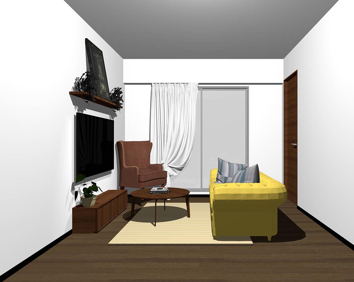ダークブラウンのフローリング、ダークブラウンの木製家具とブラウン×イエローの組み合わせ