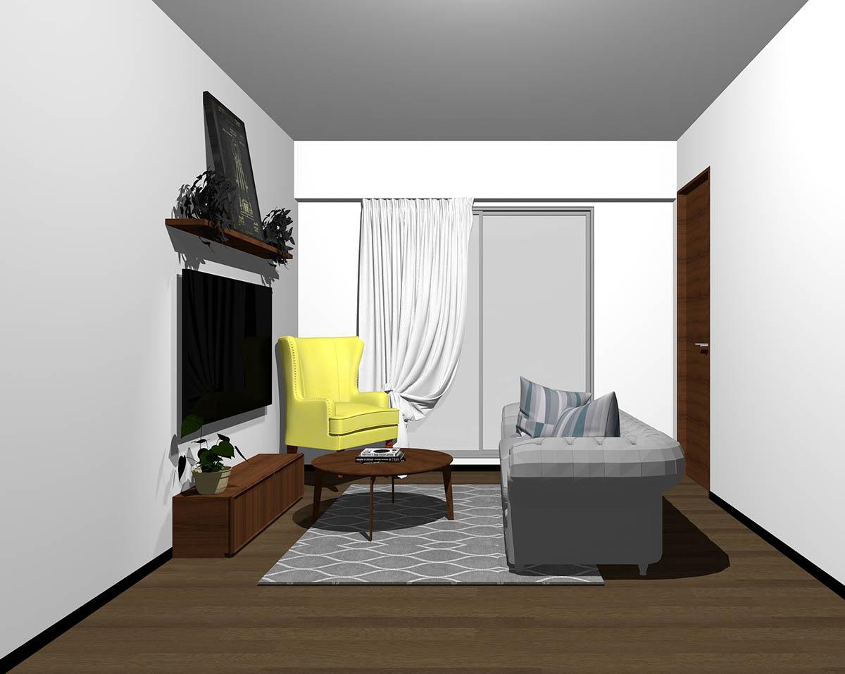 ダークブラウンのフローリング、ダークブラウンの木製家具とグレー×イエローの組み合わせ