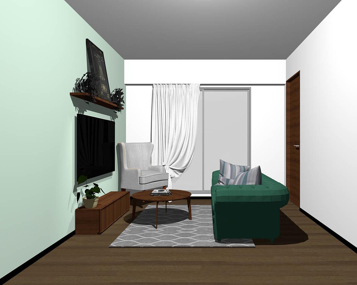ダークブラウンのフローリング、ダークブラウンの木製家具とグリーン×グレーの組み合わせ