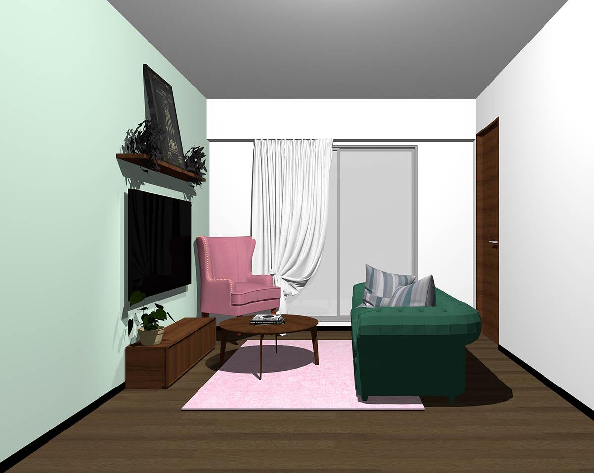 ダークブラウンのフローリング、ダークブラウンの木製家具とグリーン×ピンクの組み合わせ