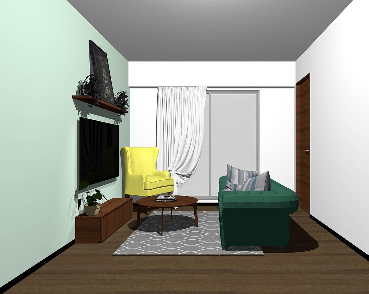 ダークブラウンのフローリング、ダークブラウンの木製家具とグリーン×イエローの組み合わせ