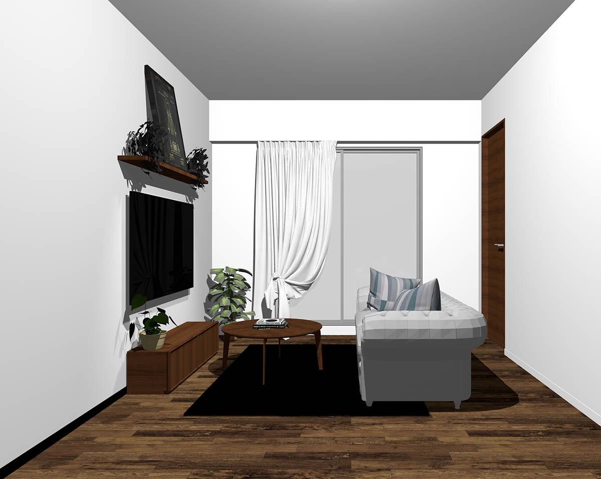 ダークブラウン系のフローリングとダークウラウンの木製家具をコーディネートしたリビング