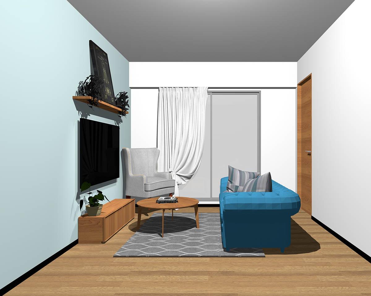 ミディアムブラウンのフローリング、ミディアムブラウンの木製家具とブルー×グレーの組み合わせ