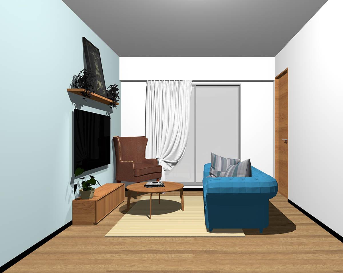 ミディアムブラウンのフローリング、ミディアムブラウンの木製家具とベージュ×ブルーの組み合わせ