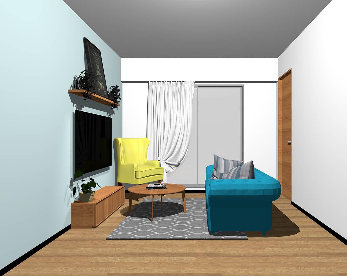 ミディアムブラウンのフローリング、ミディアムブラウンの木製家具とブルー×イエローの組み合わせ