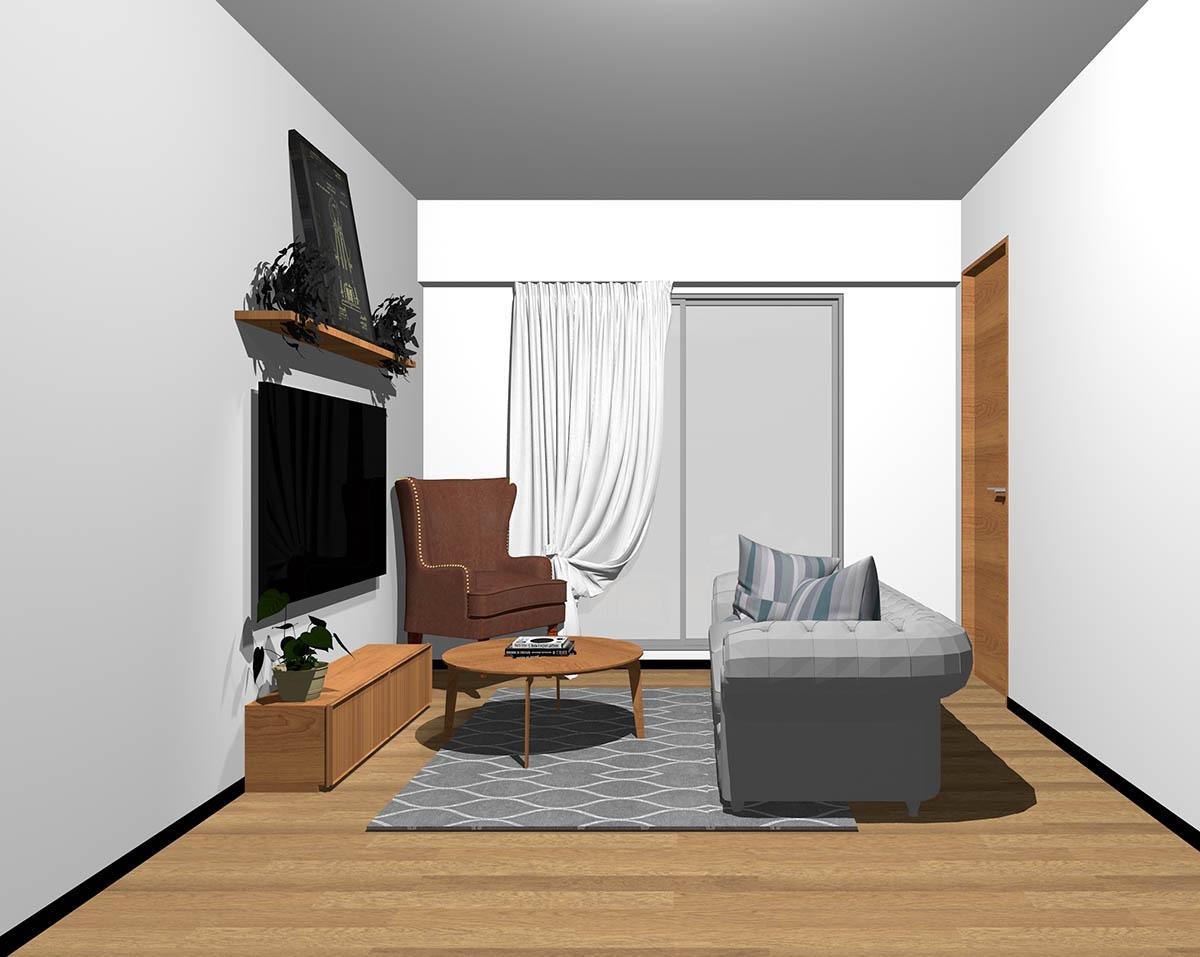 ミディアムブラウンのフローリング、ミディアムブラウンの木製家具とブラウン×グレーの組み合わせ