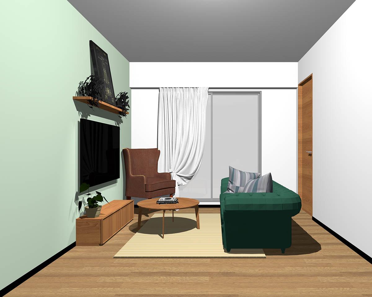ミディアムブラウンのフローリング、ミディアムブラウンの木製家具とブラウン×グリーンの組み合わせ