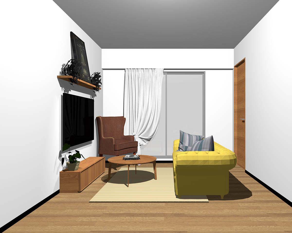 ミディアムブラウンのフローリング、ミディアムブラウンの木製家具とブラウン×イエローの組み合わせ