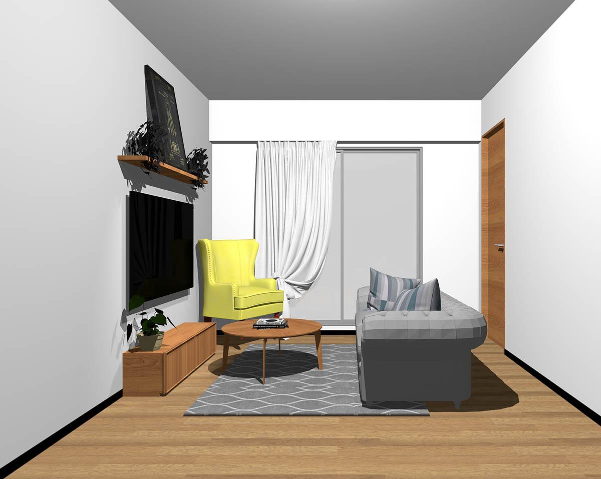 ミディアムブラウンのフローリング、ミディアムブラウンの木製家具とグレー×イエローの組み合わせ