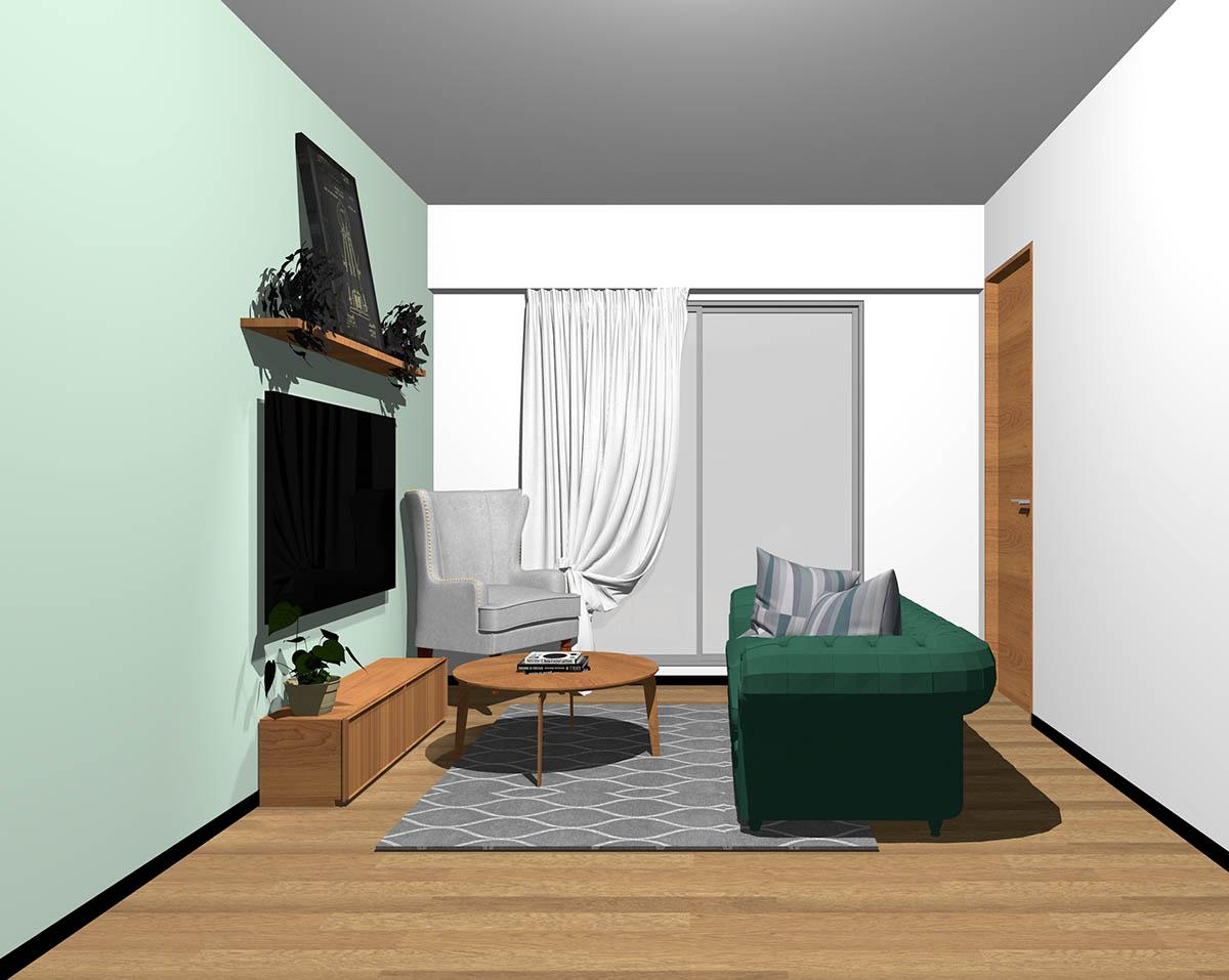 ミディアムブラウンのフローリング、ミディアムブラウンの木製家具とグリーン×グレーの組み合わせ