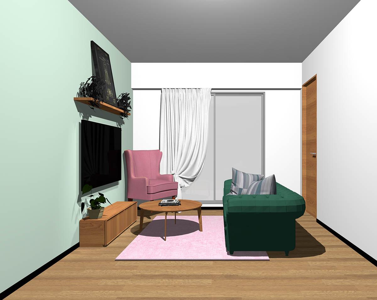 ミディアムブラウンのフローリング、ミディアムブラウンの木製家具とグリーン×ピンクの組み合わせ