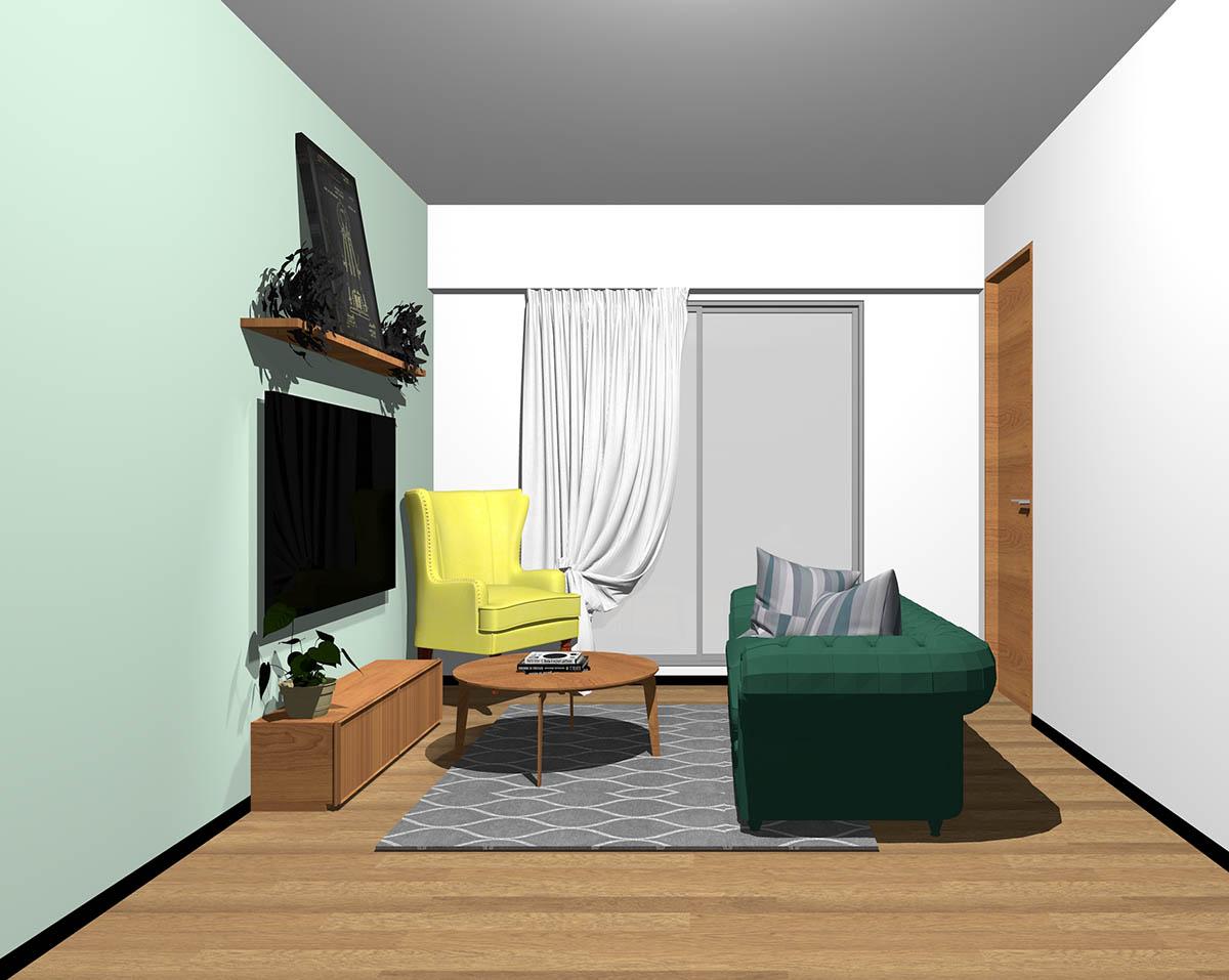ミディアムブラウンのフローリング、ミディアムブラウンの木製家具とグリーン×イエローの組み合わせ