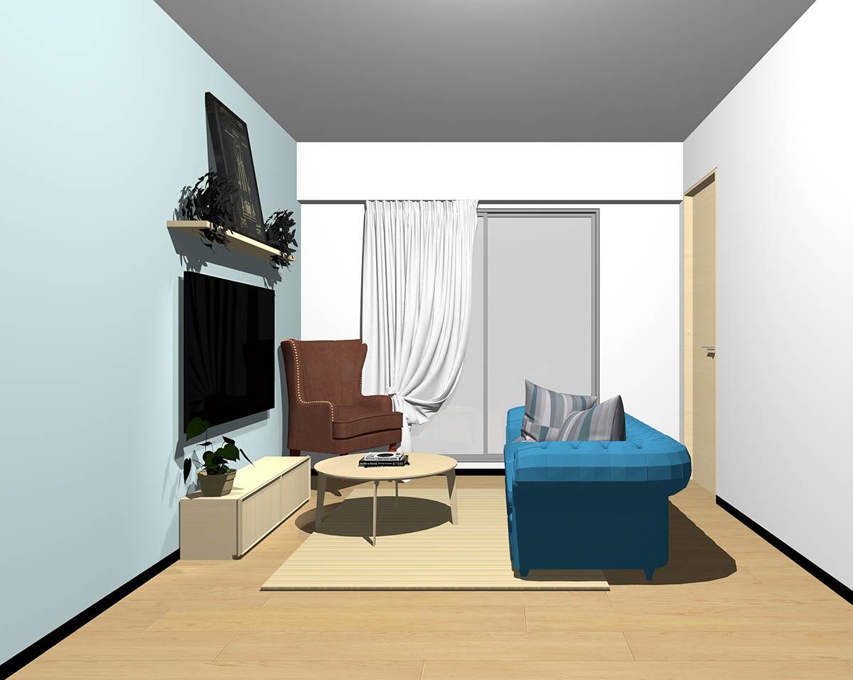 ナチュラルブラウンのフローリング、ナチュラルブラウンの木製家具とブラウン×ブルーの組み合わせ