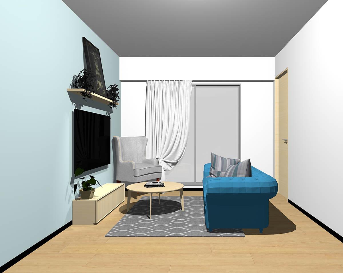 ナチュラルブラウンのフローリング、ナチュラルブラウンの木製家具とブルー×グレーの組み合わせ