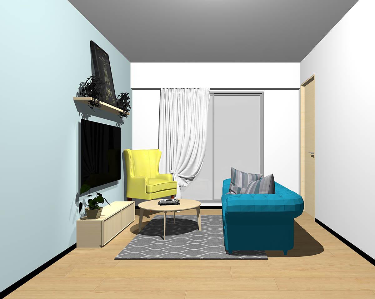 ナチュラルブラウンのフローリング、ダナチュラルブラウンの木製家具とブルー×イエローの組み合わせ