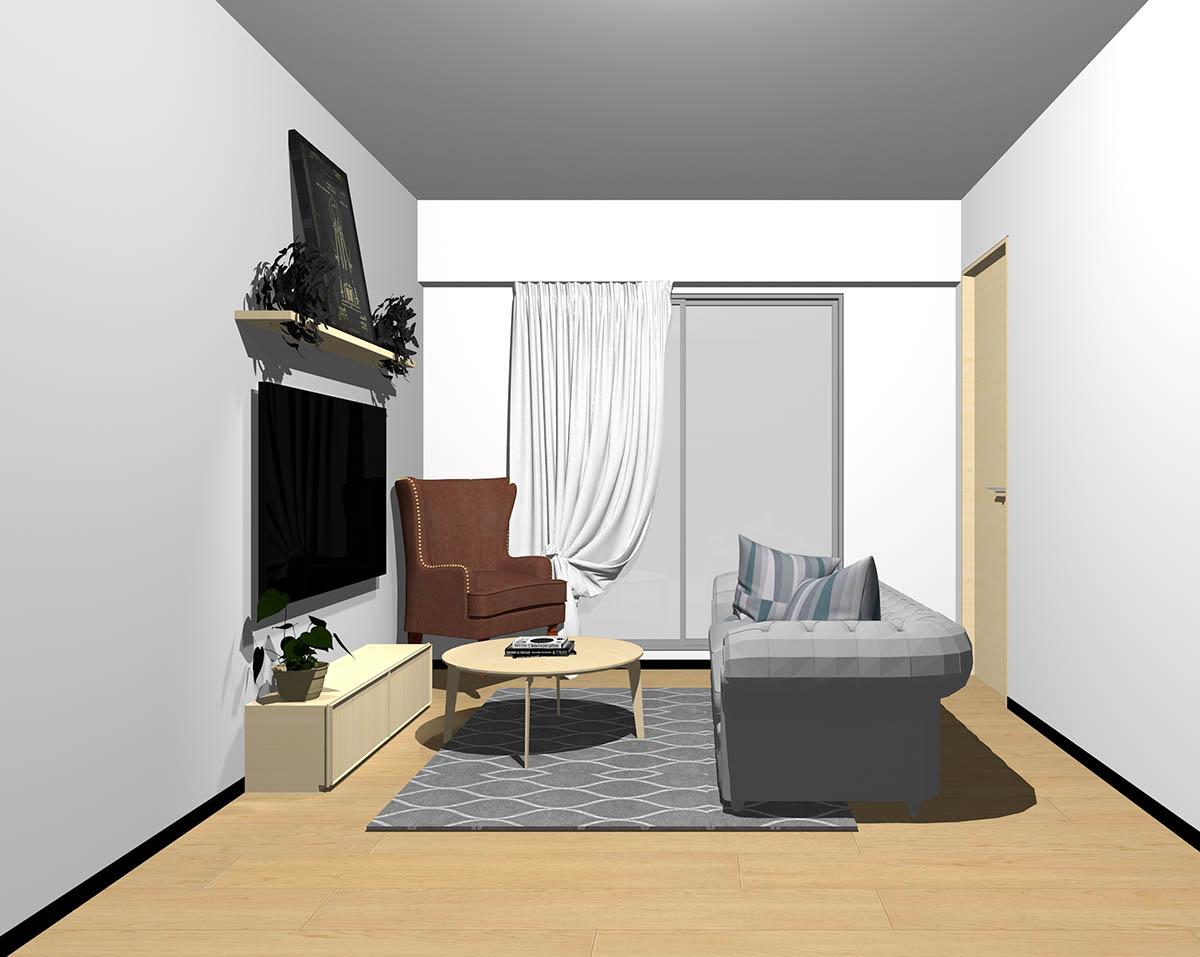 ナチュラルブラウンのフローリング、ナチュラルブラウンの木製家具とブラウン×グレーの組み合わせ