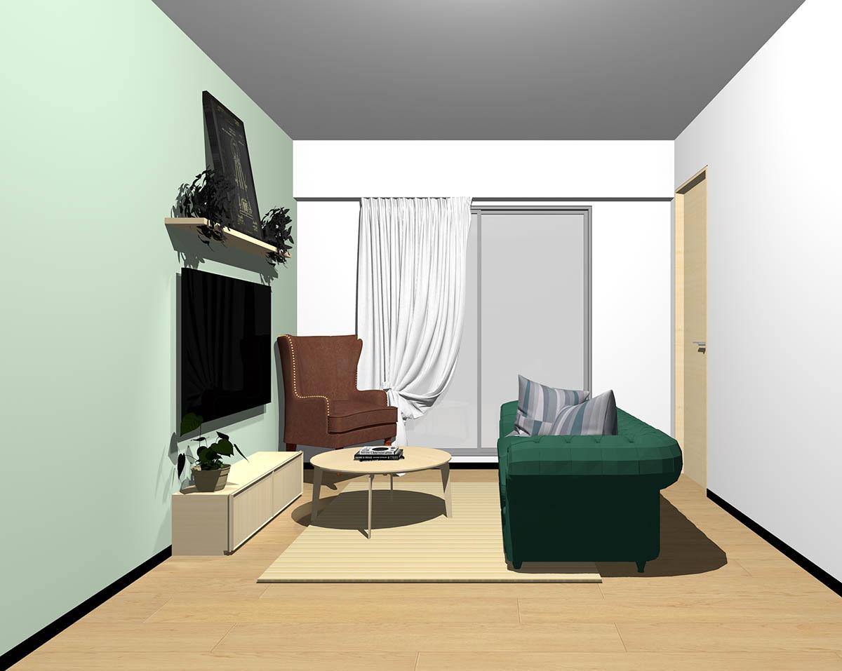 ナチュラルブラウンのフローリング、ナチュラルブラウンの木製家具とブラウン×グリーンの組み合わせ