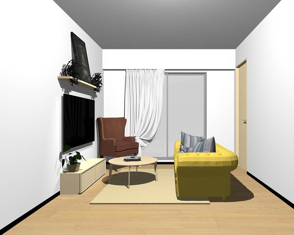 ナチュラルブラウンのフローリング、ナチュラルブラウンの木製家具とブラウン×イエローの組み合わせ